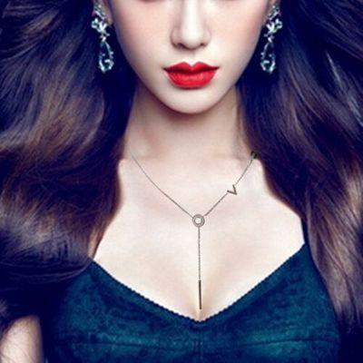 Punk Simple design Party Collar long tassel pendant Necklaces 2016 fashion love letter Stailess steel bijoux