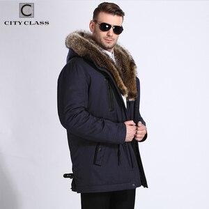 Image 5 - 市クラス毛皮の冬のジャケットメンズスーパー暖かいパーカーラクダ毛充填アライグマフードビッグ毛皮の冬のコート厚みパーカー 839