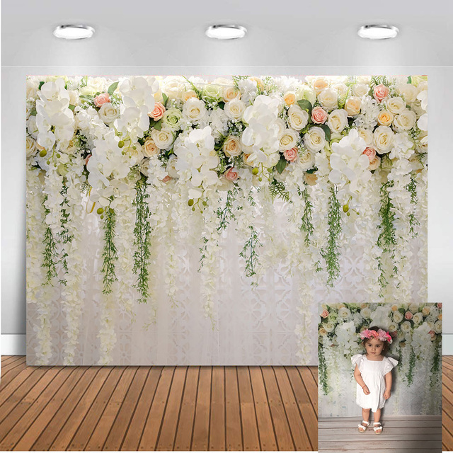 Mehofoto Bridal Shower backdrops Large Wedding Floral Wall Backdrop White and Green Flowers Curtain Dessert Table Backdrop 914