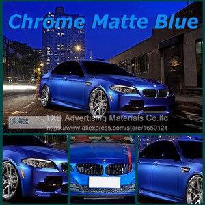 Image 2 - Blau Metallic Matt Vinyl wrap Auto Wrap Mit Luftblase Frei Chrom matt vinyl film blau Matt Film Fahrzeug Verpackung aufkleber Folie