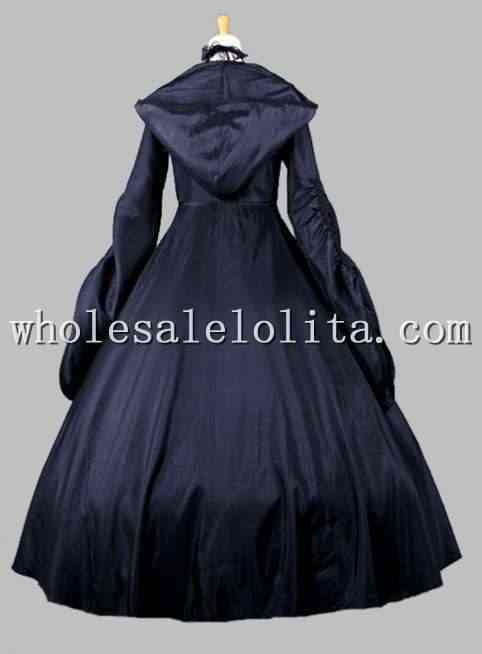 Vestido de fiesta con capucha Cosplay bruja negra gótica