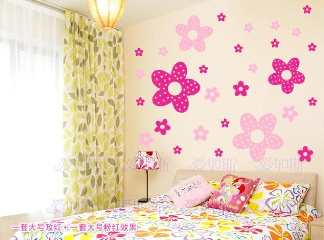 Vinilos Decorativos Para Paredes Infantil Wall Sticker Princess Girl Bedroom Cute Flowers Adesivi Murali Bambini Home Decoration