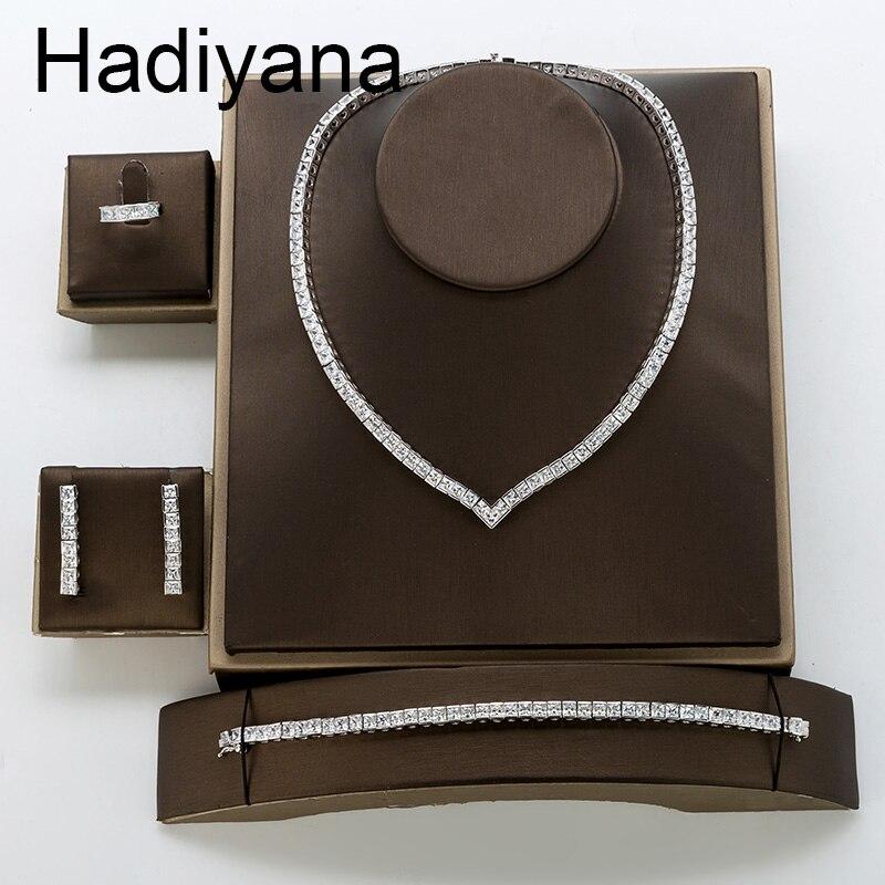 Hadiyana Fashion AAA Zircon Set Shiny Ladies Jewelry Necklace Earrings Bracelet Ring Sets for Bride Engagement Wedding TZ8122Hadiyana Fashion AAA Zircon Set Shiny Ladies Jewelry Necklace Earrings Bracelet Ring Sets for Bride Engagement Wedding TZ8122