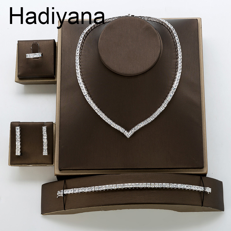 Jewelry Set HADIYANA Necklace Bracelet Ring Earrings Simple Elegant Wedding For Women Zircon TZ8122 Haar Sieraden Bruiloft-in Jewelry Sets from Jewelry & Accessories    1