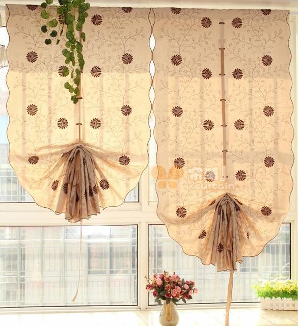 Japanese Style Cotton Material Pull Up Balloon Curtain Daisy Embroidered Decorative Kitchen For Home