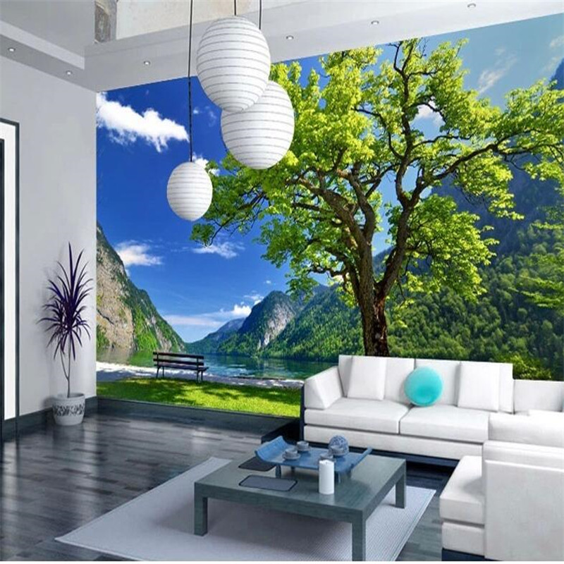 Hd3d Outdoor Download: Custom 3d Photo Wall Paper Scenic Landscape Tree Living