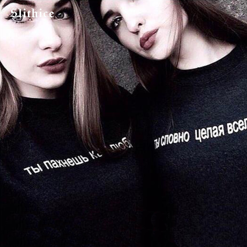 Slithice Black Women   T     shirt   tees Short Sleeve Round neck Cotton Casual Russian Letter Printed harajuku top female   T  -  shirt