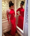 Vestidos Maxi 2015 Sexy Beaded Long Sleeve Red Evening Dresses with Crystals Gowns Pageant Dress for Women Robe De Soiree
