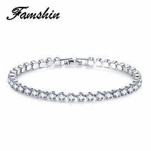 FAMSHIN High quality Cubic Zirconia Tennis Bracelet & Bangles For Women Christmas Gifts New Fashion Lady Jewelry Pulseras Mujer(China)