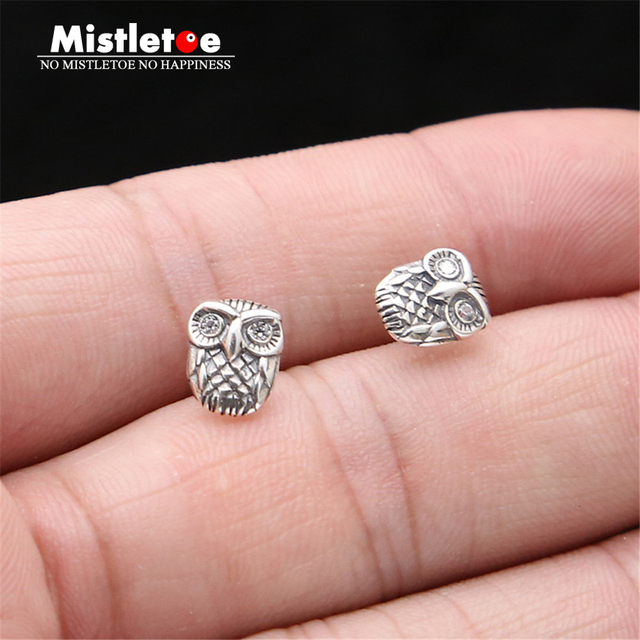 04f4f37f2 Authentic 925 Sterling Silver Vintage Punk Owl Stud Earrings For Women Or Men  Jewelry