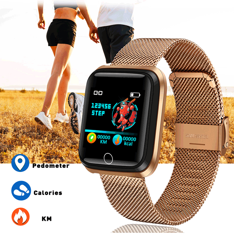 Image 5 - LIGE New Smart Bracelet IP67 Waterproof Fitness Tracker Heart Rate Monitor Pedometer gold plated Strap Smart Electronic Clock-in Smart Wristbands from Consumer Electronics
