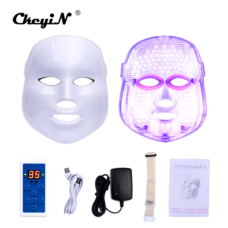 CkeyiN 7 Colors Light Photon Electric LED Facial Mask Skin PDT Skin Rejuvenation Anti Acne Wrinkle Removal Face Beauty Machine