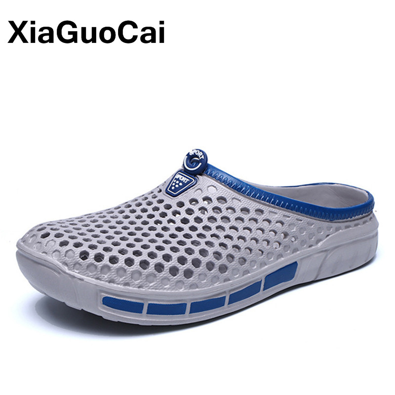 2018 Summer Men's Slippers, Slip-On Clogs Garden Shoes, Breathable Mans Sandals, New Plus Size Male Beach Shoes Flip Flops summer women casual jelly shoes beach slippers breathable waterproof clogs for women hollow slippers flip flops shoes mule clogs