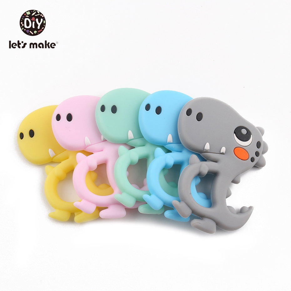 Let's Make 5pcs Silicone Teething BPA Free Cartoon Dinosaur Toys Newest Halloween Baby Shower Gifts Soft Silicone Baby Teethers