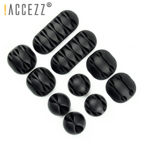 !ACCEZZ USB Cable Organizer Wire Winder Earphone Holder Cord Clip Office Desktop Phone Cables Silicone Tie Fixer Wire Management