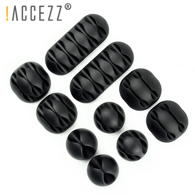 !ACCEZZ <font><b>USB</b></font> Cable Organizer Wire Winder Earphone Holder Cord Clip Office Desktop Phone Cables Silicone Tie Fixer Wire Management image