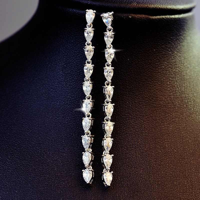 Mewah Telinga Line Crystal Panjang Anting-Anting untuk Wanita Warna Perak Hitam Putih SJ110811 ZK20