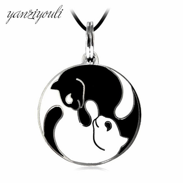 Love Cat Paw Black White 2 Cats Pendant Necklace For Women Girl Best