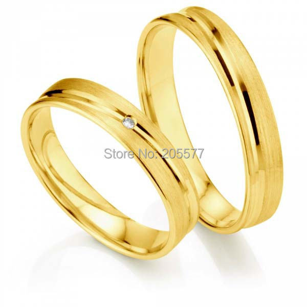 Pure surgical titanium stainless steel handmade wedding bands gift with Gold plating layer promise couple rings anel feminino cheap pure titanium jewelry wholesale a lot of new design cheap pure titanium wedding band rings