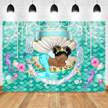 Little Princess Baby Shower Party Photography Backdrop Blue Mermaid African America Birthday Background Shell Crown Peal liiv juhan peipsi peal