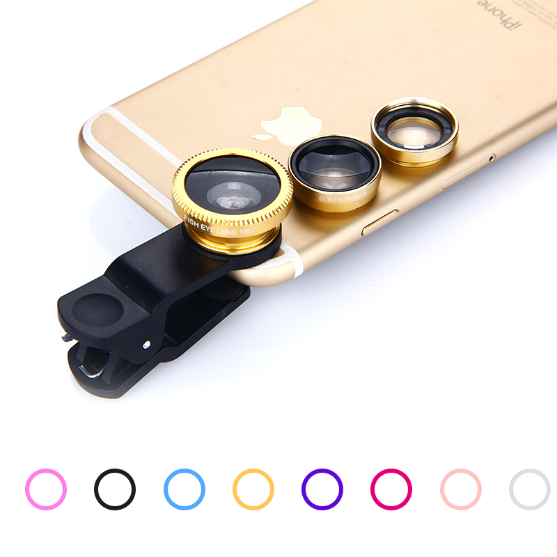 3-в-1 Широкий формат макро объектив «рыбий глаз» Камера комплект для iPhone samsung huawei 180 градусов Рыбий глаз + 0.67X Широкий формат + 10X микро объектив