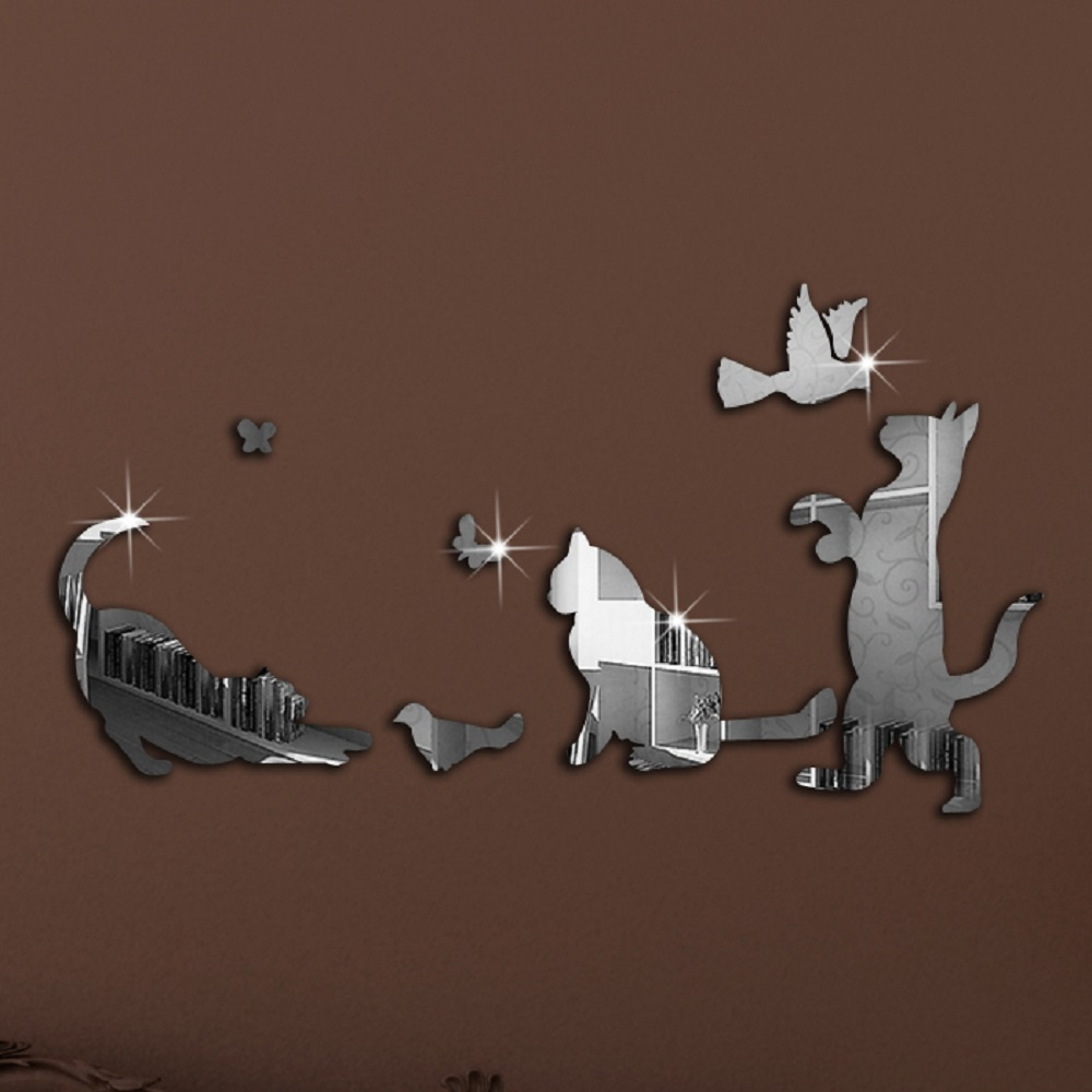 7246db510 7Pcs Lovely Cat Birds Butterfly Reflective DIY Mirror Effect 3D Wall  Stickers TV Background Wall Decor Living Room Wall Sticker