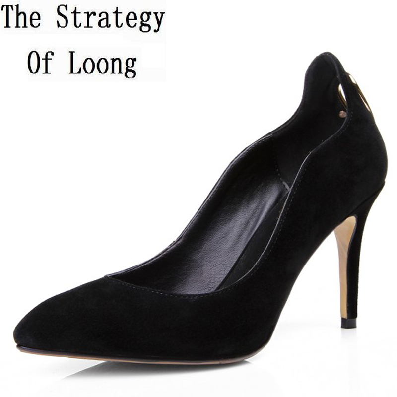 Spring Autumn Women Genuine Leather Pointed Toe Thin High Heel Cut Out Fashion Sexy Pumps Size 33-40 SXQ0909 lace cut out peep toe high thin heel black low platform pumps for woman in spring autumn hot sale big size 35 42