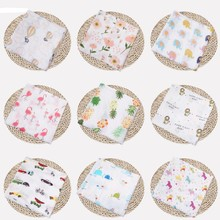 Muslin Cotton Blanket & Peawdling Fruit Print Многоцелевая новорожденная пеленая Muslin Младенческая марля Оба полотенца Baby Warp New