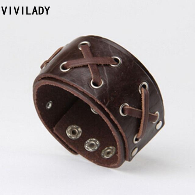 VIVILADY À La Mode Punk Véritable Bracelet En Cuir Bracelets Croix À La  Main Queue de
