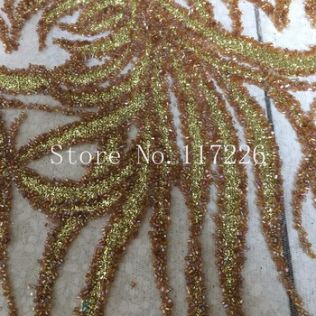 Noble African Tulle Lace With glued glitter tube beads High Quality JRB-31719-1 Embroidery Lace fabric for Nigerian Wedding