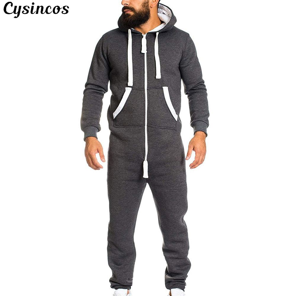 CYSINCOS 2019 Casual Tracksuit Jumpsuit Male Overalls Long Sleeve Sweatshirt Hoodies Polyester Pants Romper For Male Overalls