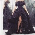 Реальные фото Арабский Дизайн Летний Стиль Черное Кружево Вечернее Платье Перед Краткое Вернуться Длинные Вечерние Платья vestido де феста
