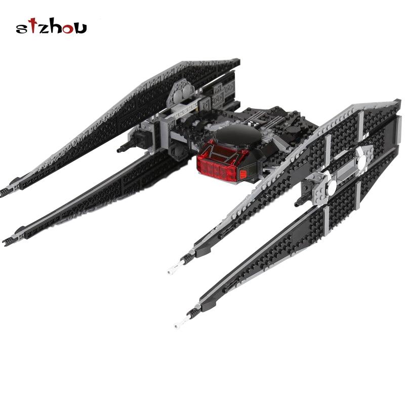 Stzhou  05127 Star Wars Kylo Ren's Tie Fighter Model Building Blocks Bricks Educational Toy For Children Gifts 75179 Legoingly christmas gifts star wars trek tie