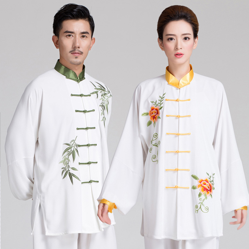 Embroidery Bamboo Long Sleeve Taiji Clothing Kung Fu Uniform Martial Arts Man Woman Tai Chi Suits Wushu Clothes cotton linen men s yoga suits long sleeved taiji lay clothes plus size breathable meditation martial arts performance clothing