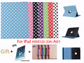 For Apple iPad mini123/For ipad 234/Air1 Case Dot 360 Rotating Built-in Stand Function Sleep Fashion Sleek Color Multi Cover