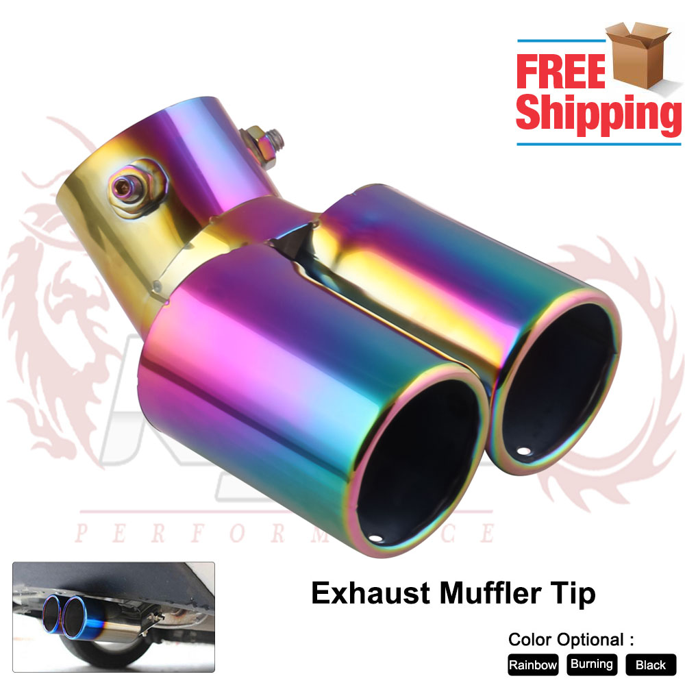 Bend 60MM Car Exhaust Dual Pipe End Tip Stainless Steel Tail Throat High Quality