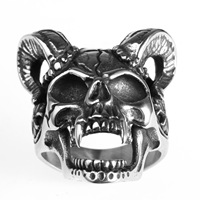 Bahamut Men Jewelry Wholesale Stainless Steel Ring Retro Skull Goat Horn Ring Cross Titanium Steel Jewelry