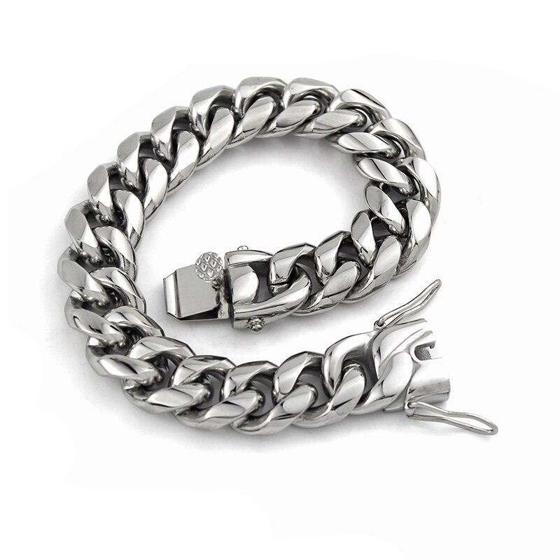 Bijoux fantaisie solide 16mm lourd en acier inoxydable unisexe Bracelet hommes Cool Punk Rock chaîne lien femmes hommes Bracelets cadeaux VB669
