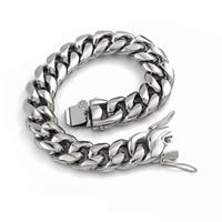 Fashion Jewelry Solid 16mm Heavy Stainless Steel Unisex Bracelet Men Cool Punk Rock Chain Link Women Mens Bracelets Gifts VB669
