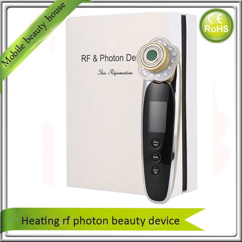Heating RF Skin Stimulation Collagen Growth Photon Rejuvenation Face Lift Skin Tighteing Vibration Beauty Massager Rechargeable mini portable usb rechargeable ems rf radio frequency skin stimulation lifting tightening led photon rejuvenation beauty device