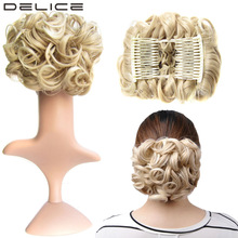 [DELICE] Women's Elastic Net Curly Chignon med två plastkombiner Updo Cover Synthetic Hair 100g / pc
