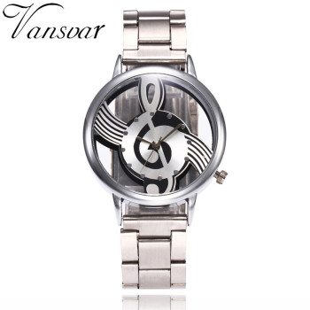 Vansvar Brand Musical Note Fashion Luxury Hollow Stainless-Steel Silver Quartz Watches