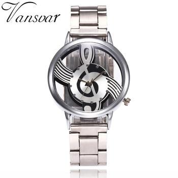 Vansvar Brand Musical Note Fashion Luxury Hollow Stainless-Steel Silver Quartz Watches