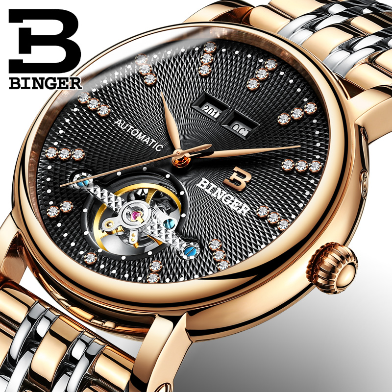 все цены на Genuine Luxury BINGER Brand men automatic mechanical self-wind big dial watches calendar waterproof fashion casual full steel