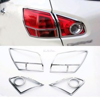 FOR Nissan Qashqai 2007 2010 Chrome Tail Light Covers Surrounds Trim Set