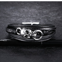 Fashion Top Quality Men PU Leather Bracelet Jewelry Wholesale Punk Skeleton Link Chain Male Black Color