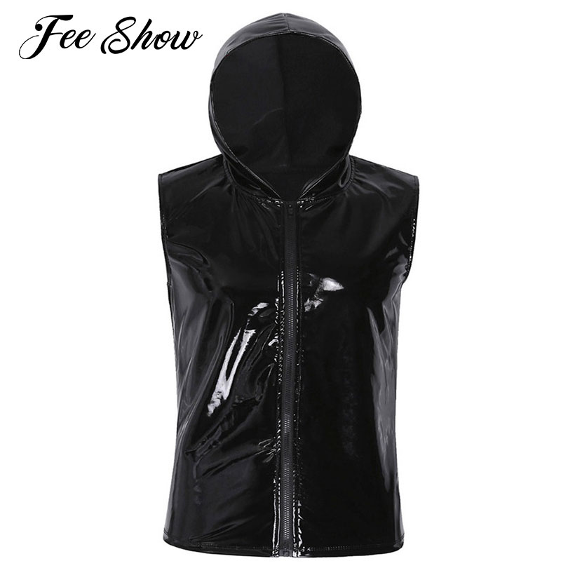 03f4eae104c 2018 Sexy Gay Mens Shiny Top Wet Look Patent Leather Stretchy Sleeveless T-shirt  Tops