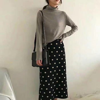 2019 Autumn Women Skirts High Waist Knitting Women Bodycon Long Skirt Faldas Jupe Femme Saia Dots Print Women Sexy Pencil Skirt 1