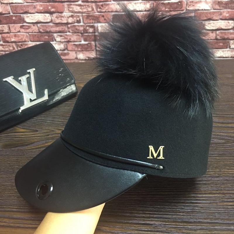 Six petals hat, baseball wool cap single black  metal logo  large bulb equestrian cap hat
