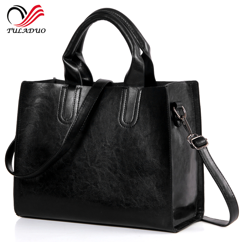2017 New Fashion Women Leather Black Tote Large Handbag Famous Brand Big Casual Shoulder Bags Vintage European Messenger Bag european and american fashion black leather zipper man bag design famous manberce brand male shoulder messenger bags